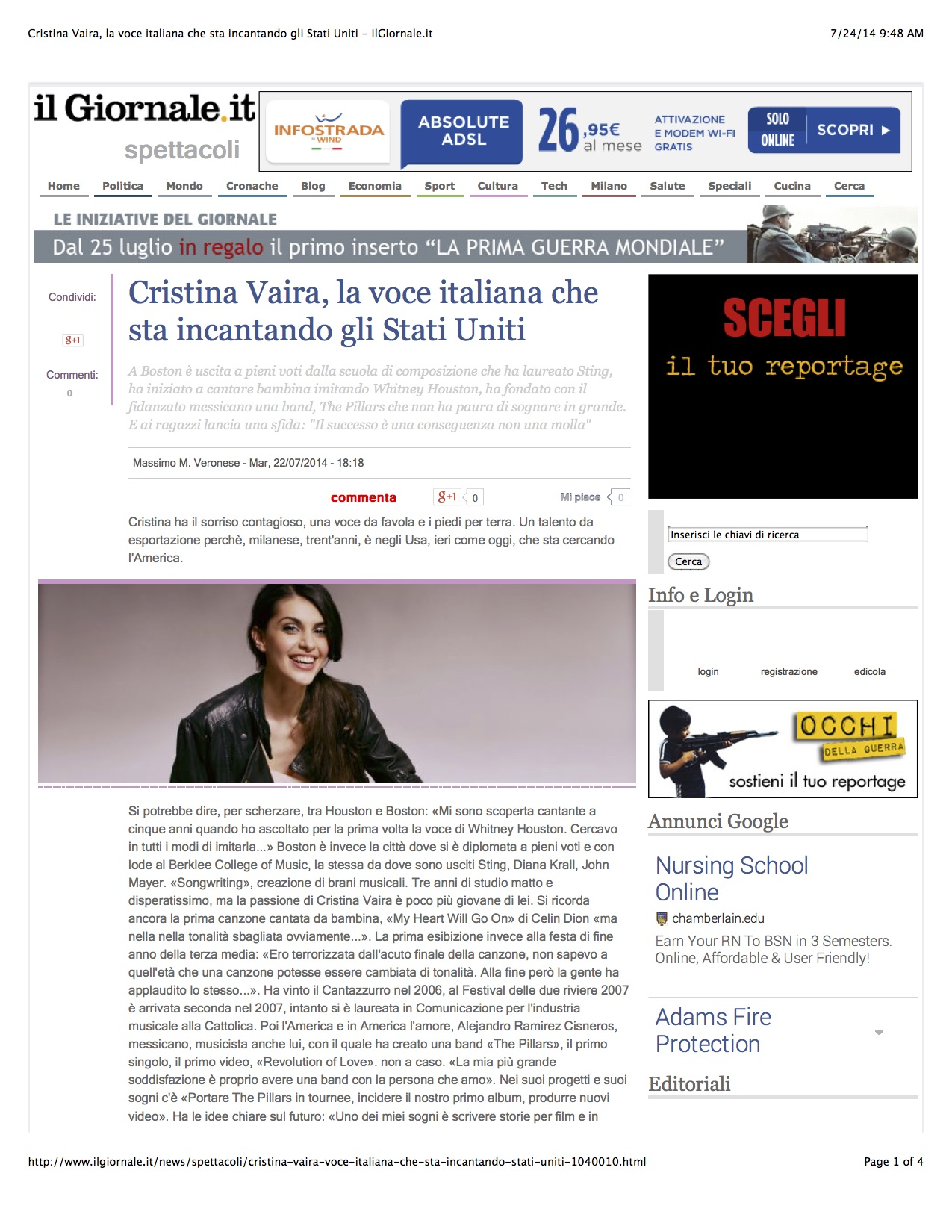 Cristina Vaira Press Release ©2017 All Rights Reserved. Cristina Vaira la voce italiana che sta incantando gli Stati Uniti. Il Giornale 7/24/2014