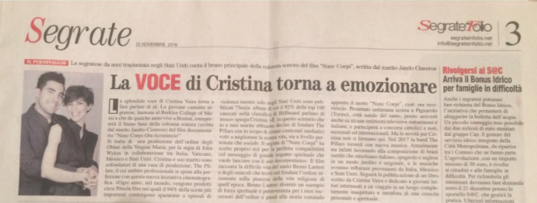 Cristina Vaira Press Release ©2017 All Rights Reserved. Segrate InFolio. Nunc Coepi_Article_11/22/2017