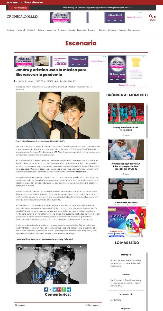 Crónica – Jandro y Cristina usan la música para liberarse en la pandemia