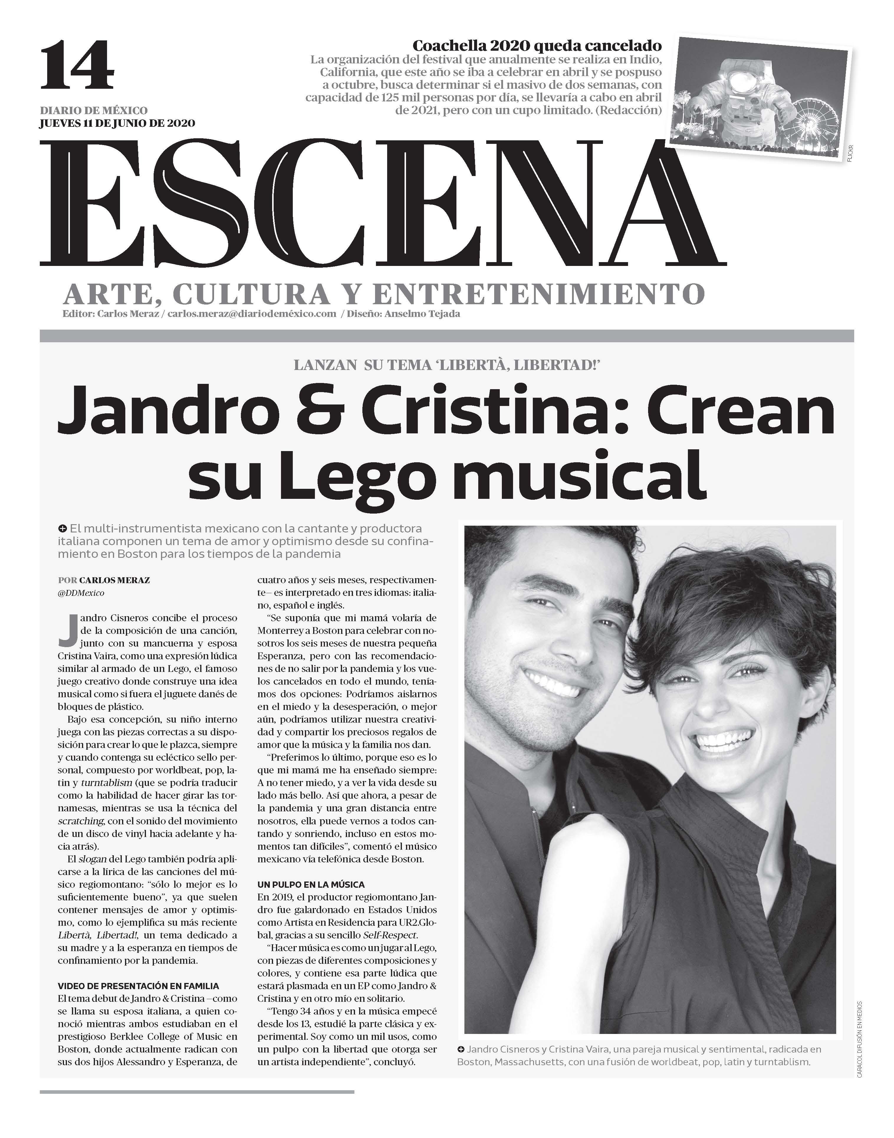 Diario de México – Jandro & Cristina: Crean su Lego musical en 'Libertà, Libertad!'
